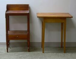 Stained Pine Washstand and a Federal Pine Breadboard-top Maple and Tiger Maple Table.