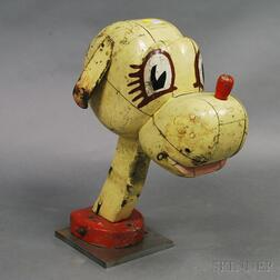 Painted Wooden Carnival Head of a Dog