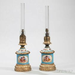 Pair of Sevres-style Porcelain Lamp Bases
