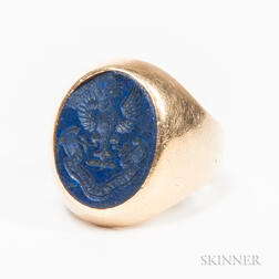14kt Gold and Lapis Lazuli Seal Ring