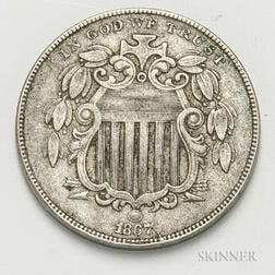 1867 With Rays Shield Nickel
