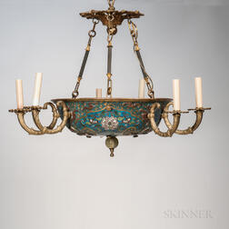 Cloisonne and Gilt-bronze Six-light Chandelier