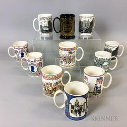 Eleven Wedgwood British Commemorative Transfer-decorated Ceramic Mugs