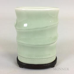 Small Celadon-glazed Brush Holder