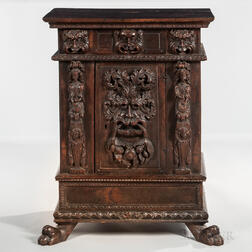 Baroque-style Carved Walnut Cabinet