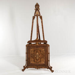Aesthetic Movement Mahogany and  Burlwood-veneered Gallery Easel