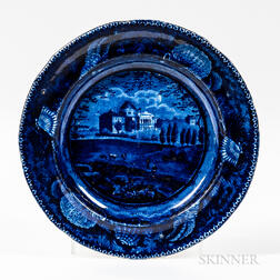 """Staffordshire Historical Blue Transfer-decorated """"The Capitol Washington"""" Plate"""