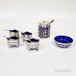 Six Pieces of Sterling Silver and Silver-plated Tableware with Cobalt Liners