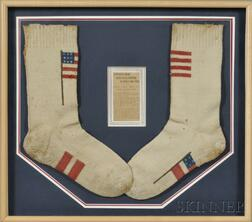 Pair of Hand-knit Civil War Era Wool Socks with Flag Motifs and a Related Article