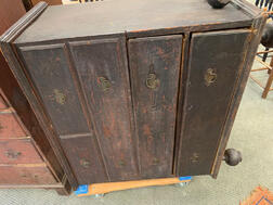 Early Black-painted Ball-foot Blanket Chest