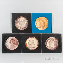 Five Framed New England Rare Coin Galleries Coin Photographs