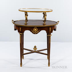 Louis XVI-style Mahogany-veneered Oval Two-tier Table