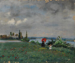 Fernand de Launay (French, 1838-1890)      The Red Parasol