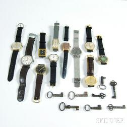 Small Collection of Fashion Wristwatches and Antique Keys