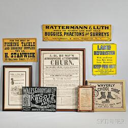 Eight Tin, Paper, and Cloth Advertising Items