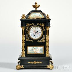 Gilt-bronze-mounted Carriage Clock with Hand-painted Limoges Enamel Panels