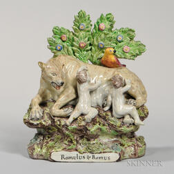 Pearl-glazed Earthenware Bocage Romulus and Remus Group