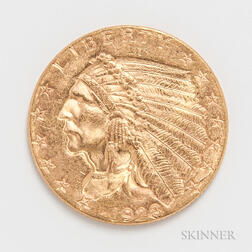 1928 $2.50 Indian Head Gold Coin.     Estimate $200-300