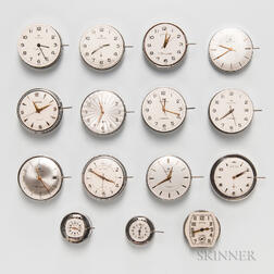 Fifteen Hamilton Automatic Wristwatch Movements and Dials