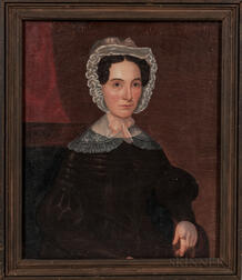 American School, Mid-19th Century      Portrait of a Woman in a Brown Dress