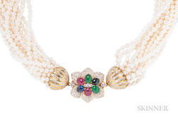 Cultured Pearl and Gem-set Necklace