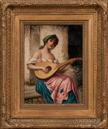 Continental School, 19th Century      Woman Playing a Mandolin
