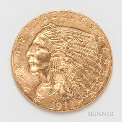 1911 $2.50 Indian Head Gold Coin.     Estimate $200-300