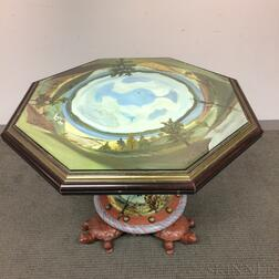 MacKenzie-Childs Paint-decorated Wood and Ceramic Octagonal Table