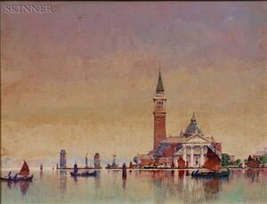 Lot of Two Italian Views:    Attributed to Ross Sterling Turner (American, 1847-1915), View to   San Giorgio Maggiore, Venice;