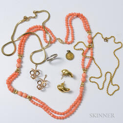 Group of 14kt Gold Jewelry and a Coral Multi-strand Necklace