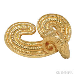 18kt Gold Ram's Head Brooch, Lalaounis