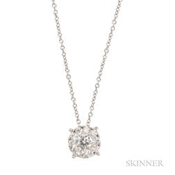 18kt White Gold and Diamond Pendant Necklace