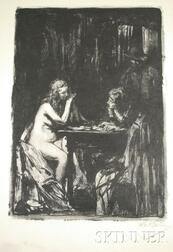Albert Edward Sterner (American, 1863-1946)      View of Two Figures Seated at a Table.