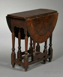 William & Mary-style Oyster-veneered Gate-leg Table