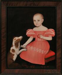 Ammi Phillips (American, 1788-1865)      Portrait of a Child in a Pink Dress Seated on a Red Cushion, with a Spaniel.