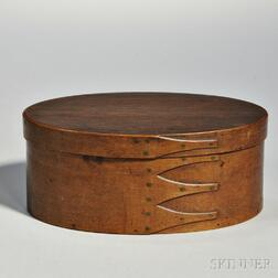 Shaker Brown-stained Pine and Maple Covered Oval Box