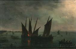 Herminie Henriette Gudin (French, 1825-c. 1876)      Fishing Vessels in Moonlight