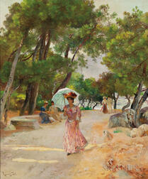 Laurent Gsell (French, 1860-1944)      Strolling Woman with a Parasol
