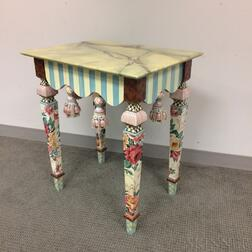MacKenzie-Childs Painted Wood and Ceramic Side Table