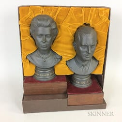 Pair of Cased Royal Doulton Commemorative Ceramic Busts of Queen Elizabeth II and The Duke of Edinburgh