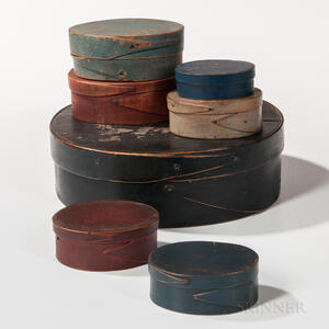 Stack of Seven Painted Pantry Boxes
