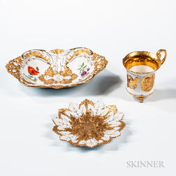 Three Meissen Porcelain Gold-decorated Tableware Items