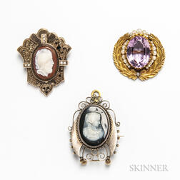 14kt Gold and Amethyst Brooch and Two Low-karat Gold Cameo Brooches