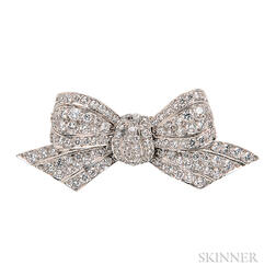 Platinum and Diamond Bow Brooch, Tiffany & Co.