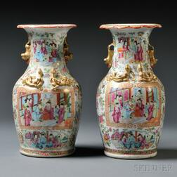 Pair of Export Rose Medallion Vases