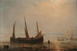 Herminie Henriette Gudin (French, 1825-c. 1876)      Fishing Vessels on a Sunlit Shore