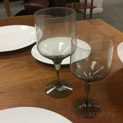 Approximately Thirty-four Pieces of Smoked Glass Stemware