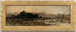 Anglo/American School, 19th/20th Century      River View with Cows