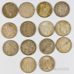 Eight Circulated Morgan Dollars and Six Peace Dollars.     Estimate $200-300