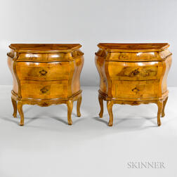 Pair of Inlaid Burlwood Bombe Chests